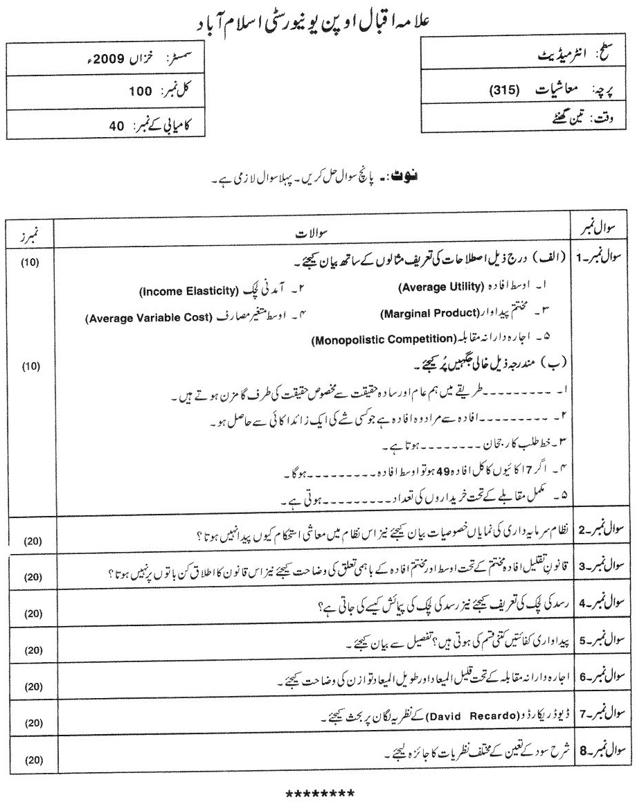 aiou inter fa economics past paper AIOU Inter FA Economics 315 Past Paper Old Paper 2012 Exams