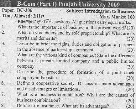 PU-BCom-Introduction-to-Business-Past-Paper