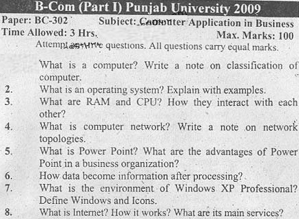 Punjab-University-B.Com-Computer-Application-Business-Past-Paper
