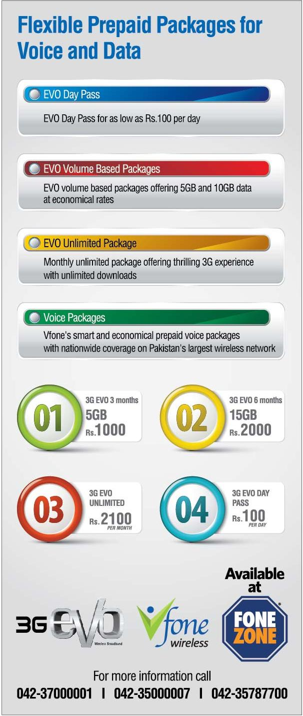voice data packages evo PTCL Launched EVO+Vfone Enabled CDMA Mobile Handsets