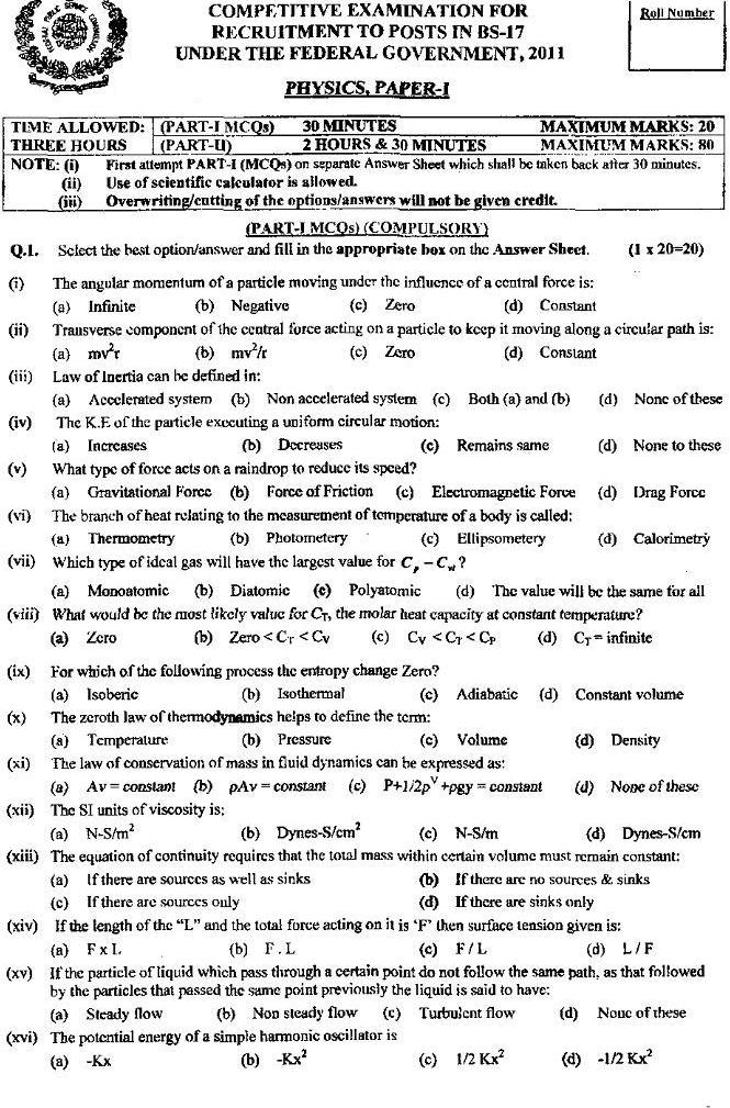 CSS-Physics-Past-Paper-2011 download