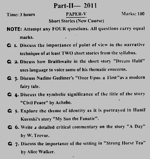 Comparative essays on short stories