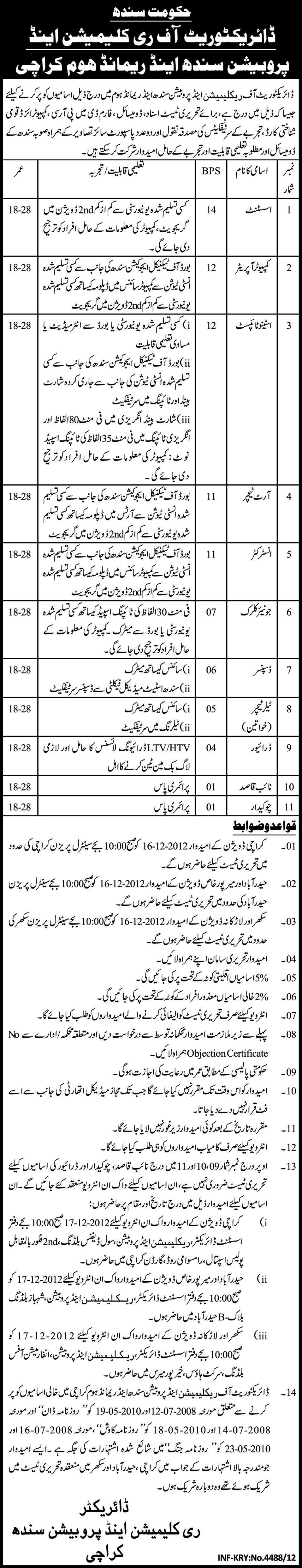 jobs in sindh Jobs in Directorate of Reclamation and Probation Karachi
