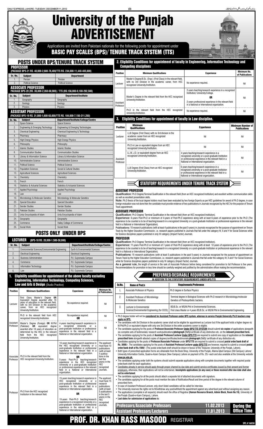jobs Careers Opportunities in Punjab University
