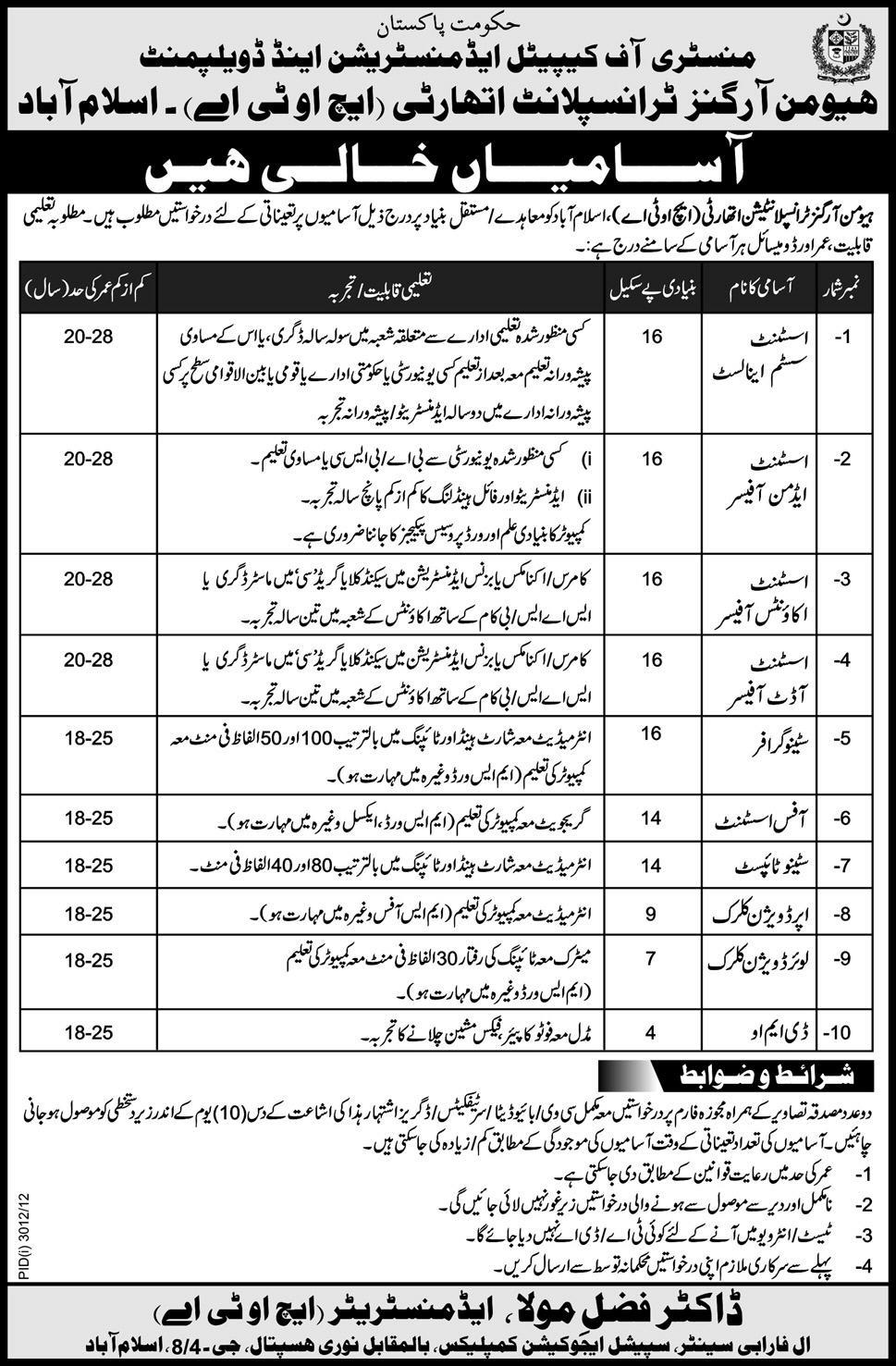 jobs in islamabad Jobs in Human Organs Transplantation Authority Islamabad