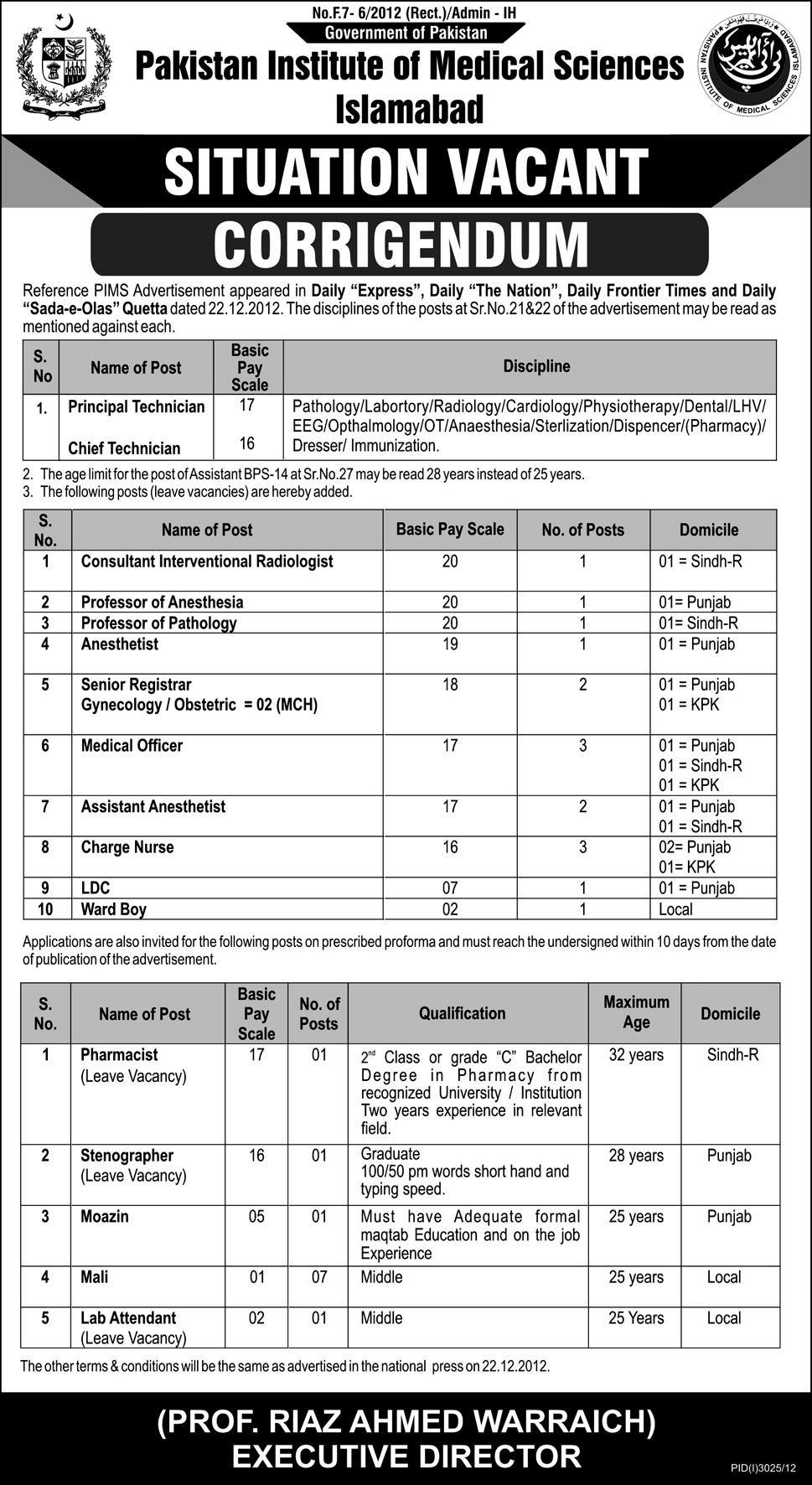 jobs in pims Jobs in Pakistan Institute of Medical Sciences Islamabad