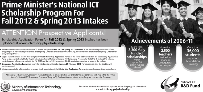 scholarships Prime Ministers National ICT Scholarships Program 2013