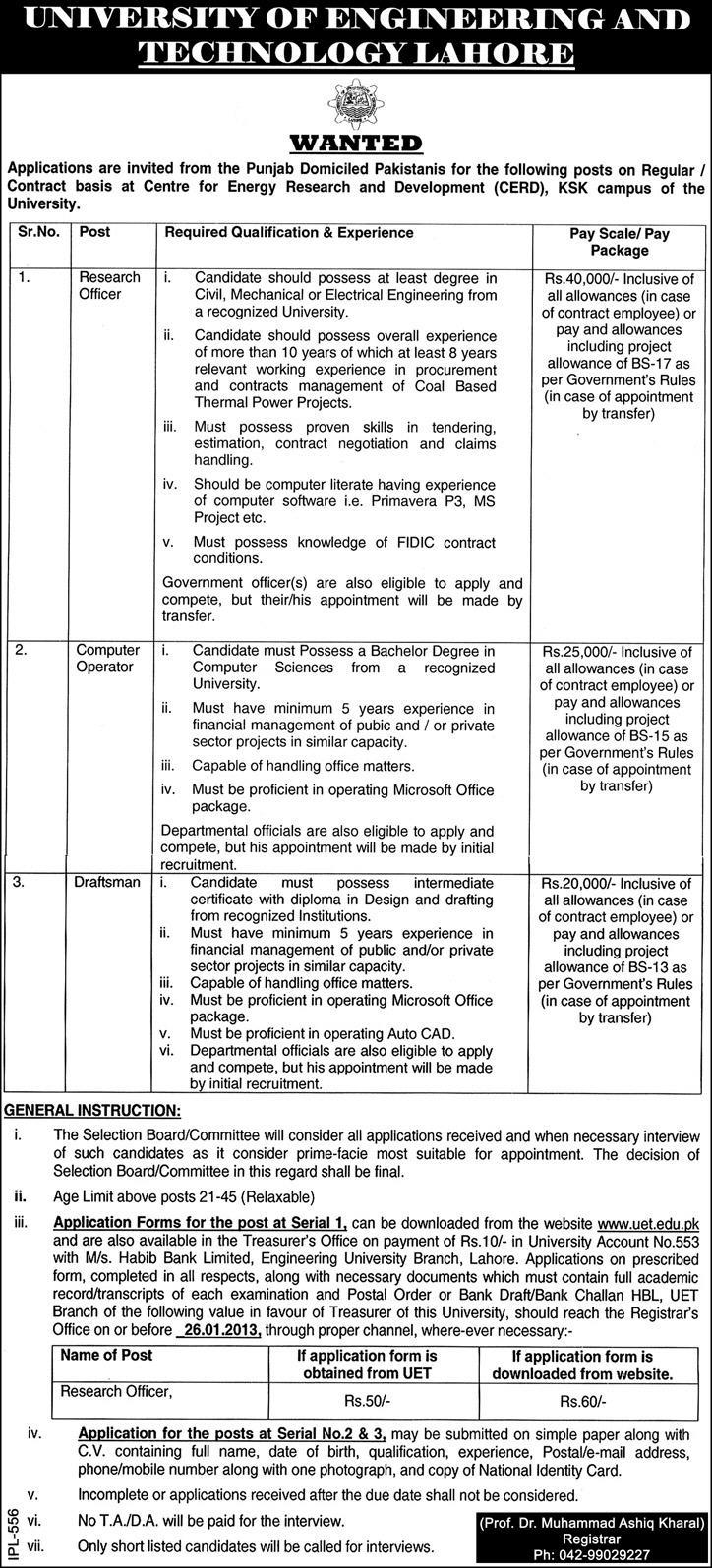university of engineering technology jobs Jobs in University of Engineering & Technology Lahore