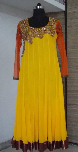 bridal_yellow_party_frock_style 2013