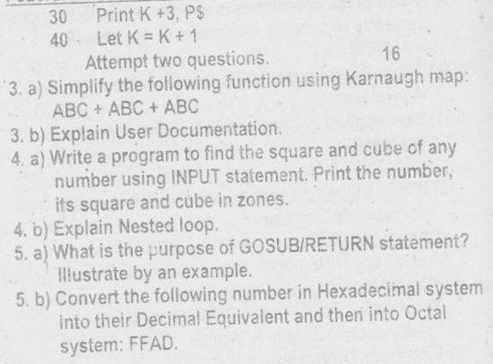 fbise 10th class computer old paper 2 Federal Board FBISE 10th Class SSC Part II Computer Past Papers, Guess Papers
