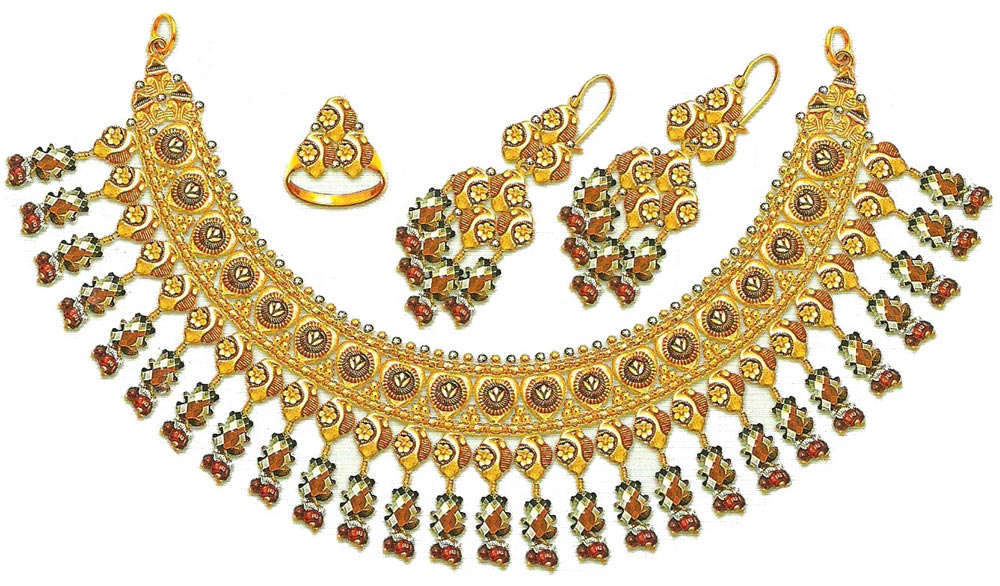 Bridal Jewellery Set Pure Gold Necklace Designs 2014 2015 Pakistan