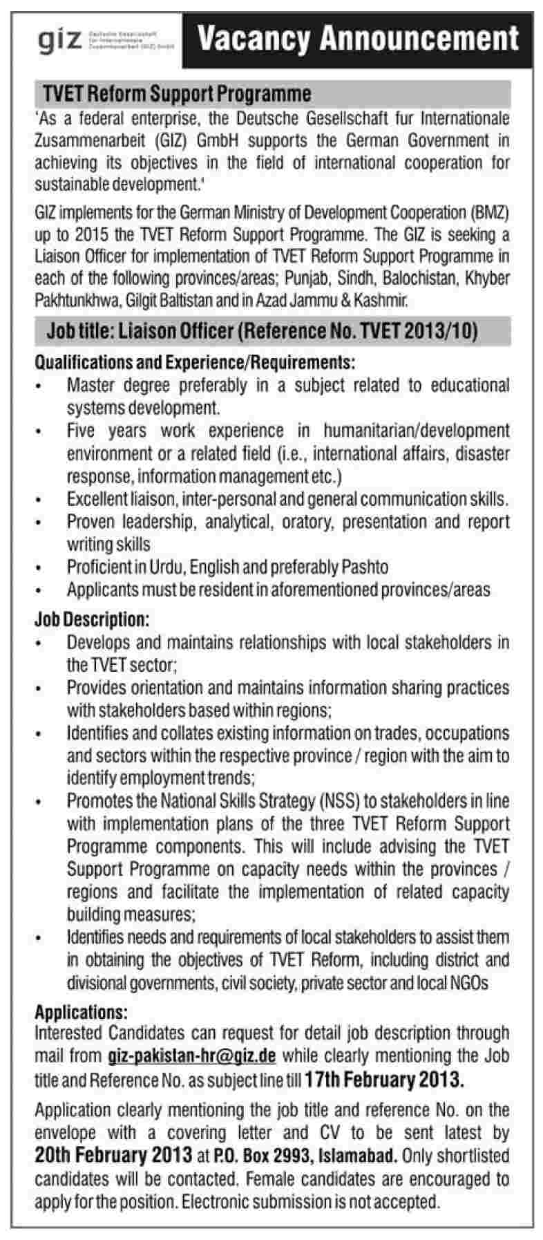 jobs in dawn newspaper Jobs in GIZ Islamabad