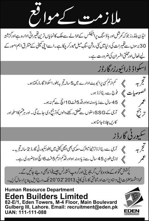 Jobs in Eden Lahore