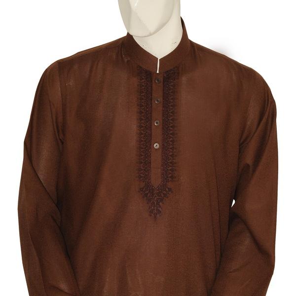 Junaid Jamshed Semi formal kurta in brown 2013