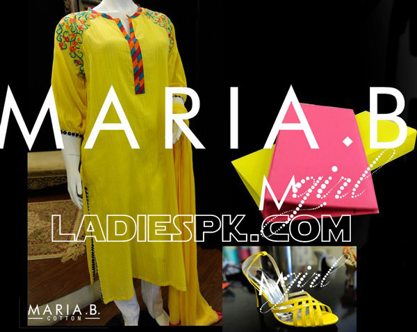maria b 2013 cottons evening wear shoes Maria B Cotton Long Evening Dresses 2013 in Pakistan