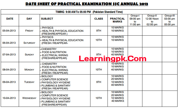 Peshawar-Board-9th-Class-Practical-Date-Sheet