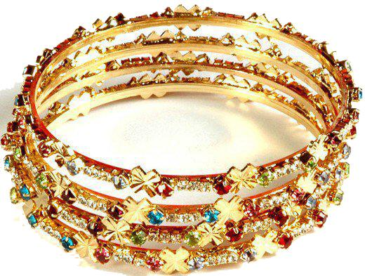 bangles designs collection 2013 images Gold Diamond Bangle with Stones for Wedding Party 2013 Pics