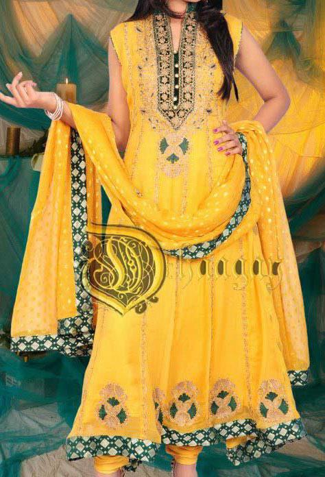 dhaagay latest dresses for women 2012 4 Latest Yellow Frock Bridal Wadding Mehndi Dresses 2013