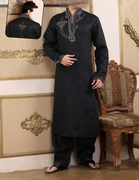 Embroidered Kurta-Kameez-for-Men 2013 Black