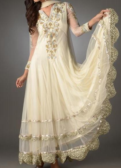 fancy frock designs 2013 Party Wedding White