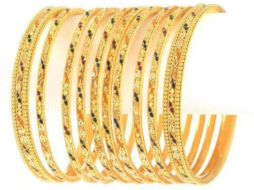 gold bangles designs collection 2013 facebook Gold Diamond Bangle with Stones for Wedding Party 2013 Pics