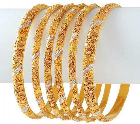 gold bangles designs collection 2013 pictures Gold Diamond Bangle with Stones for Wedding Party 2013 Pics