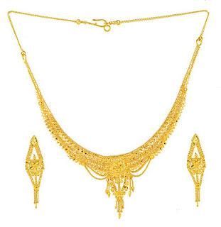 Gold Jewellery Designs 2013 Bridal Necklace with Earrings Set