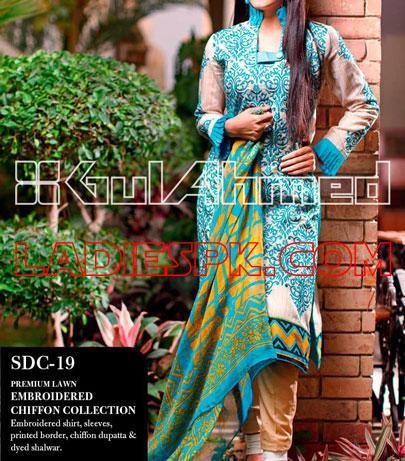 Gul-Ahmed Lawn Shalwar Kameez Designs 2013