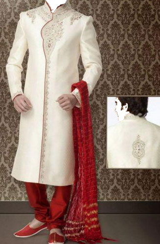 Indian-Groom-Sherwani-Designs-For-Wedding-2013 Red & off White