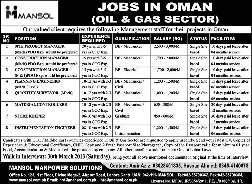 jobs in oman iol and gas sector Jobs in Oman Oil & Gas Sector