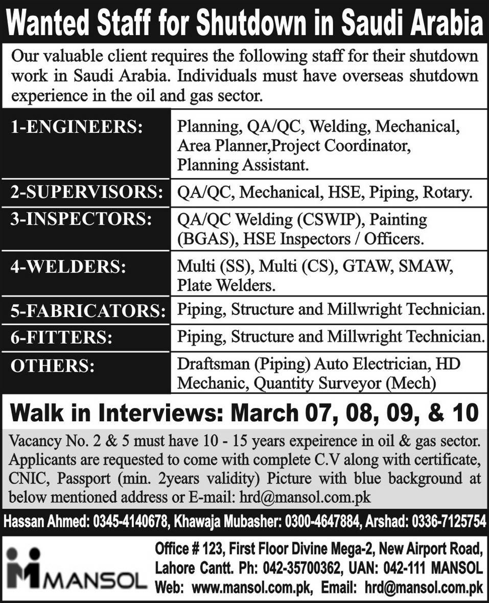 jobs in saudi arabia2 Engineers, Supervisors, Inspectors, Welders, Fitters Staff Jobs in Saudi Arabia
