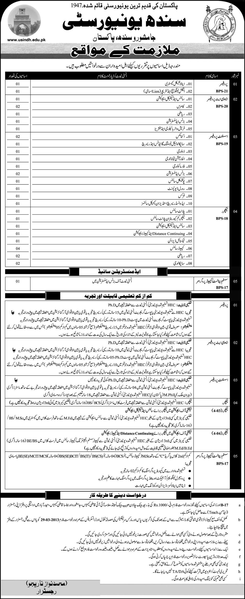 jobs in sindh university Jobs in Sindh University Jamshoro