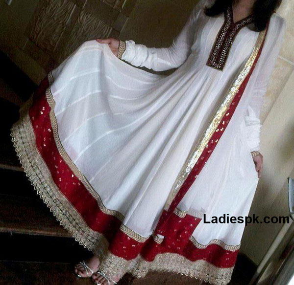 kaliyon wali white long umbrella frocks 2013 party White Umbrella Frocks 2013 for Wedding