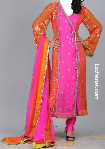 latest angrakha style for girls 2013 Angrakha Fashion in Pakistan and