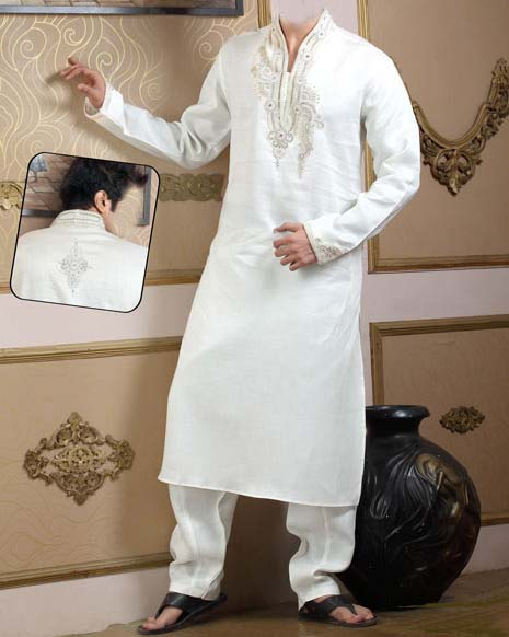 Latest Embroidered Kurta for Men Boys Designs 2013 White