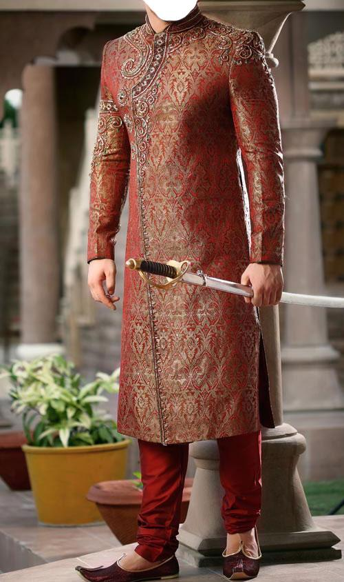 Angrakha Style Maroon Sherwani For Men Indian