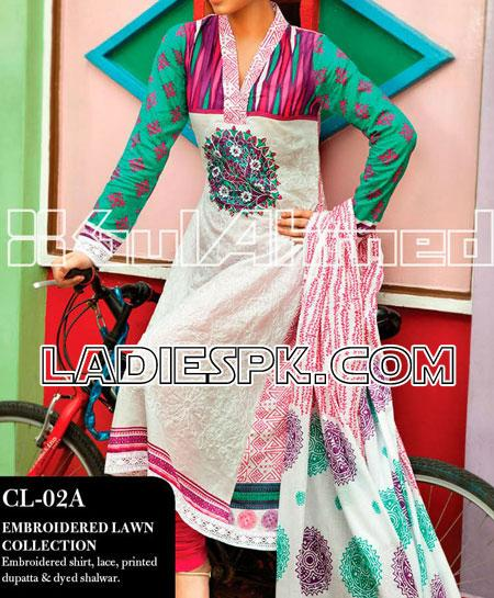salwar kameez gul ahmed lawn summer collection 20131 Pakistani Shalwar Kameez Design for Women by Gul Ahmed
