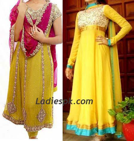 yellow frocks for girls mehndi dresses 2013 Pakistani Bridal Mehndi Dresses Designs 2013 for Girls