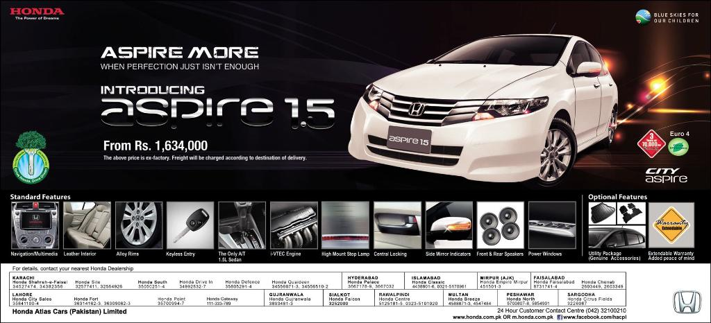 aspire Honda Aspire 2013 Price in Pakistan and New Features