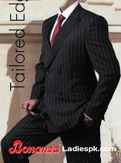 bonanza three piece suit for men black pant coat Latest Bonanza Three Piece Pant Coat Styles for Gents 2013
