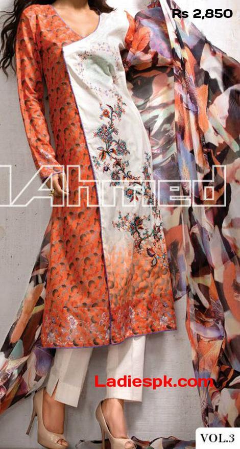 Gul-Ahmed-lawn-2013-Volume 3-magazine-Angrakha-Style