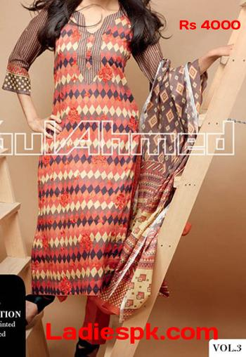 gul ahmed lawn 2013 volume 3 magazine summer kameez Gul Ahmed Lawn Magazine Volume 3 2013 Long Kameez & Prices