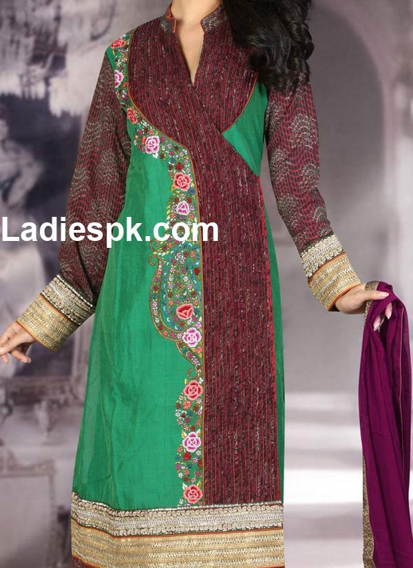 indian angrakha style churidar suit slkrfkameez designs1 indian Angrakha Style Kameez for Girls