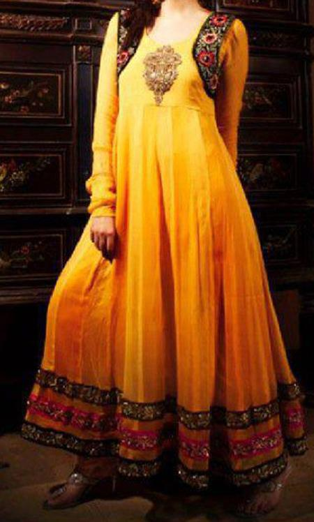indian mehndi dresses for girls yellow bridal wadding frocks 2013 Mehndi Wear Dresses for Girls