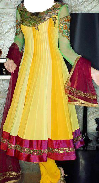 Mehndi Dresses for Girls, Yellow  Bridal Wadding Frocks Pakistani