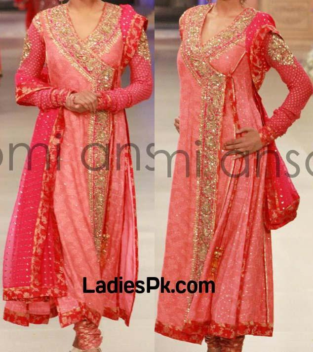 Nomi ansari angrakha style bridal lengha Dresses Designs Wedding 2013