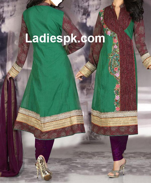 pakistani angrakha style churidar suit slkrf kameez1 indian Angrakha Style Kameez for Girls