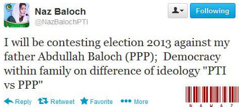 pti2 Naz Baloch will Contest Election Against His Father