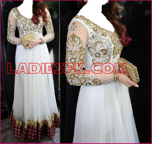 white indian  wedding party frocks designs 2013 boutique Indian White Boutique Frocks for Wedding & Party