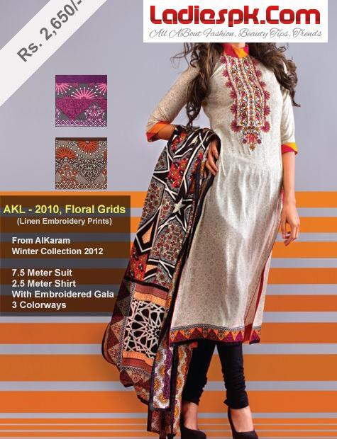 Alkaram-Studio-Lawn-Linen-Collection-2013 Prices Long Shirt Choori Pajama Summer